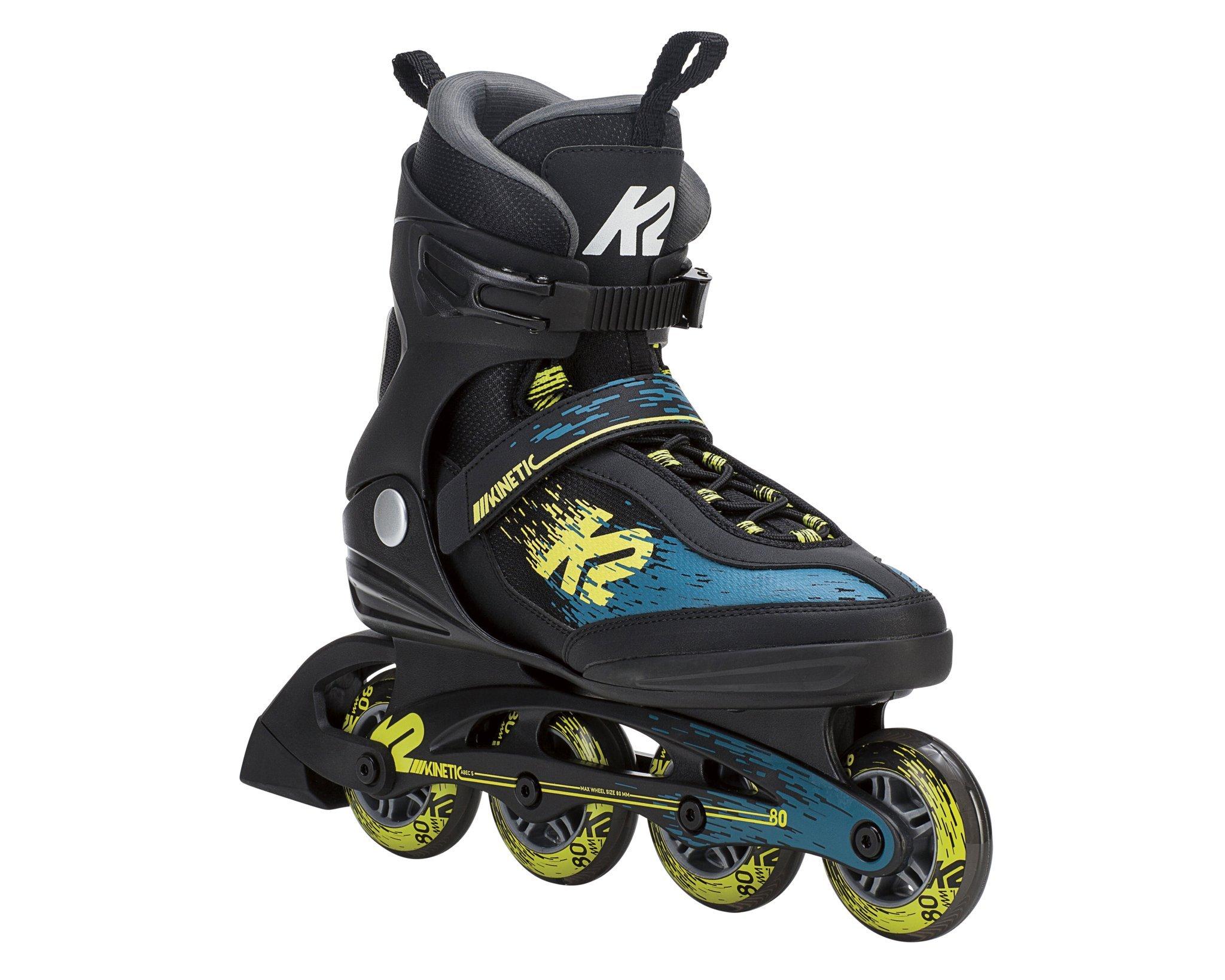 K2 Skate Men's Kinetic 80 Inline Skate, Black Green Yellow, 11.5