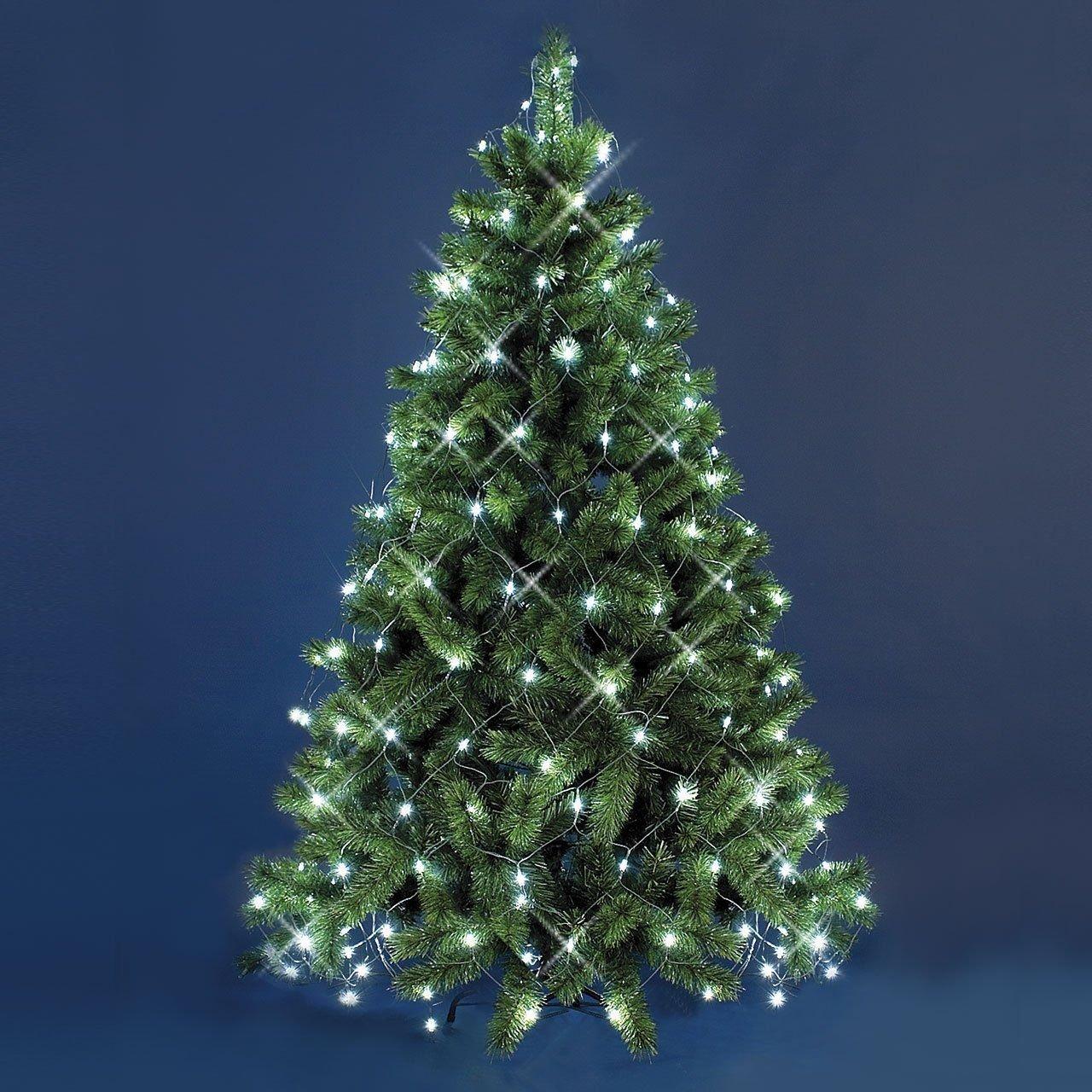 Mantello di luci per Albero di Natale 3,8 x h. 2 m, 195 LED Bianco Caldo, Cavo Verde, Decorazione Albero, luci per Albero Luminalpark Lottiimportex