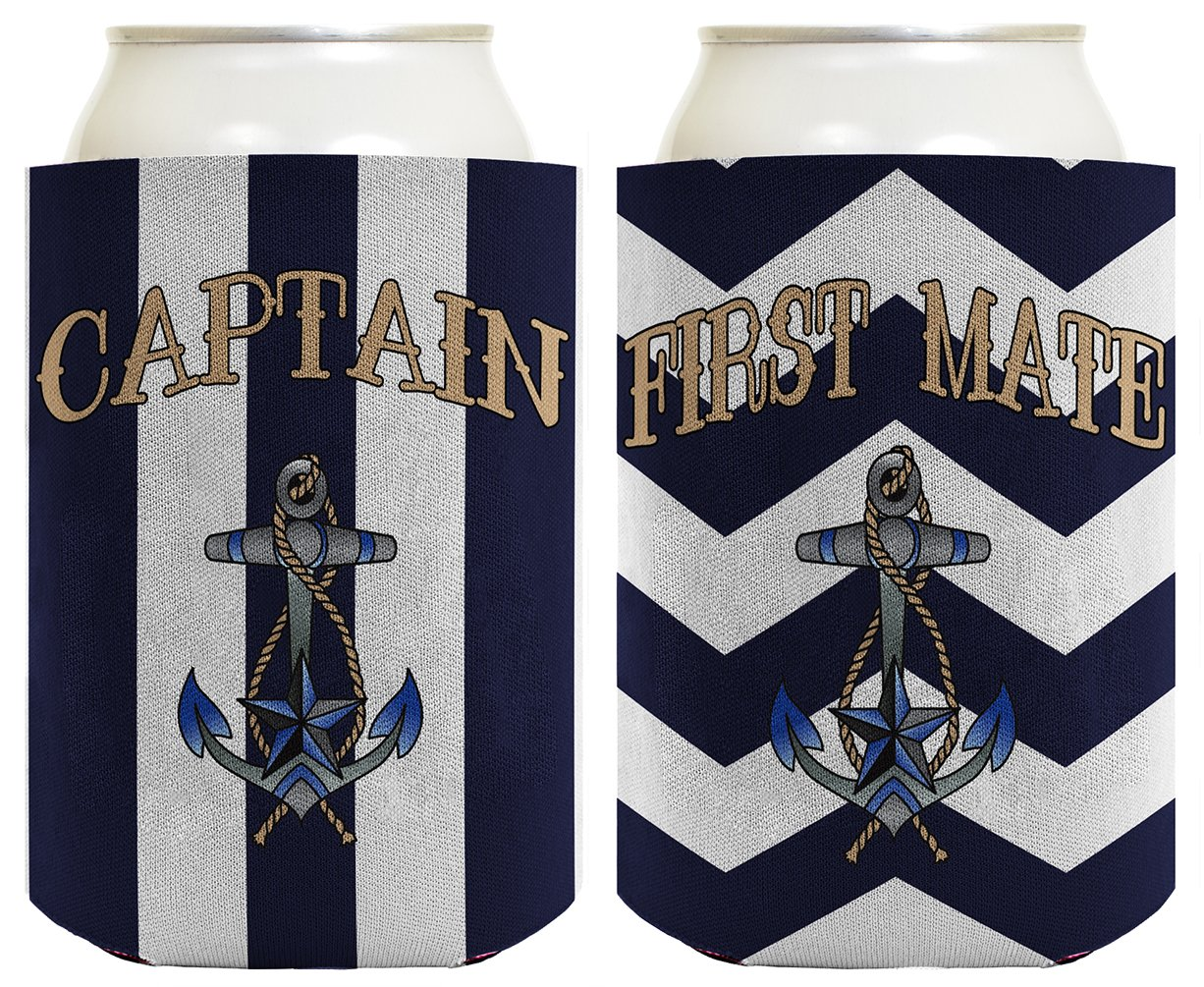 Captain Hat Yacht Cap Funny Coolie Captain and First Mate Chevron Can Coolie Bundle Chevron Navy by ThisWear (Image #3)