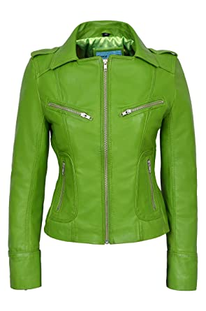 Rider Ladies Lime Green Biker Motorcycle Style Soft Real Nappa ...