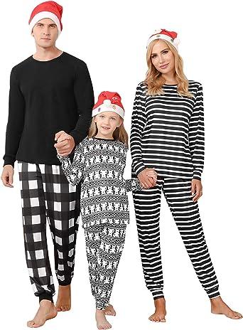 Irevial Pijamas de Navidad Familia Conjunto Algodón Pijama Navidad Familia Ropa de Dormir Raya Pijama Familiar a Juego Navidad Manga Larga Pijamas ...