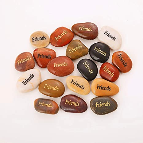 Amazon Com Rockimpact 50pcs Friends Friends Stones Engraved Inspirational Stones Energy Zen Reiki Healing Balancing Inspiring Prayer Bulk Wholesale Friends Rock 2 3 Each Home Kitchen