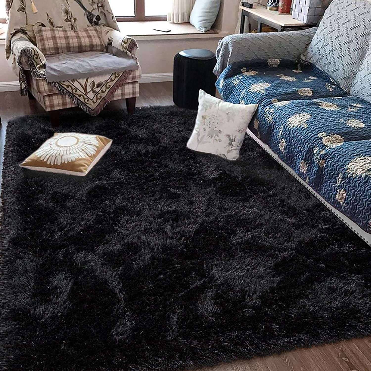 Fluffy Soft Kids Room Rug Baby Nursery Decor, Anti-Skid Large Fuzzy Shag Fur Area Rugs, Modern Indoor Home Living Room Floor Carpet for Children Boys Girls Bedroom Rugs, Black 5 x 8 Feet