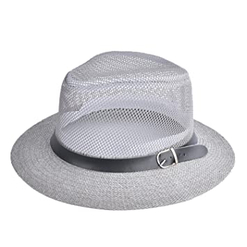 Barry picks Women Spring Summer Hat Breathing Mesh Sun Cap Hollow Out  Wide-Brim Fedora 933989ecd20