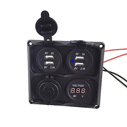 2 Holes Flat Panel Base USB Socket//Voltmeter//Power Socket Holder Car Truck Boat