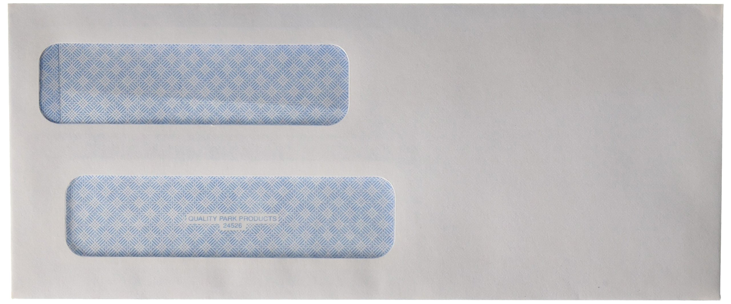 Quality Park #8 Double Window Security Check Envelope, 3.625 x 8.625 Inches, White, 500 Envelopes (24526)