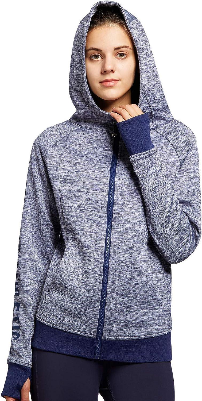 35055 QUEENIEKE Women/'s Sports Hoddie Jacket Full Zip Tops Fleece Lined Coat with Side Pockets for Running Hiking