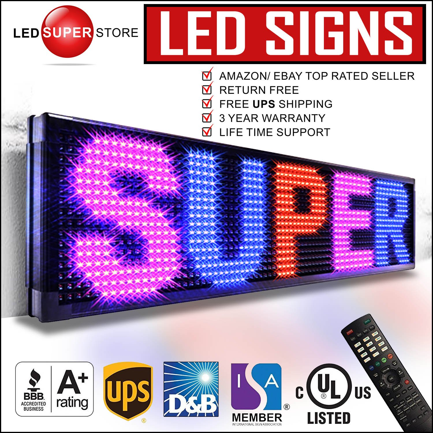 LED SUPER STORE: 3Color/RBP/P30mm/IR - 22''x60'' Remote Control, Outdoor Programmable Message Scrolling EMC Signs Display, Reader Board