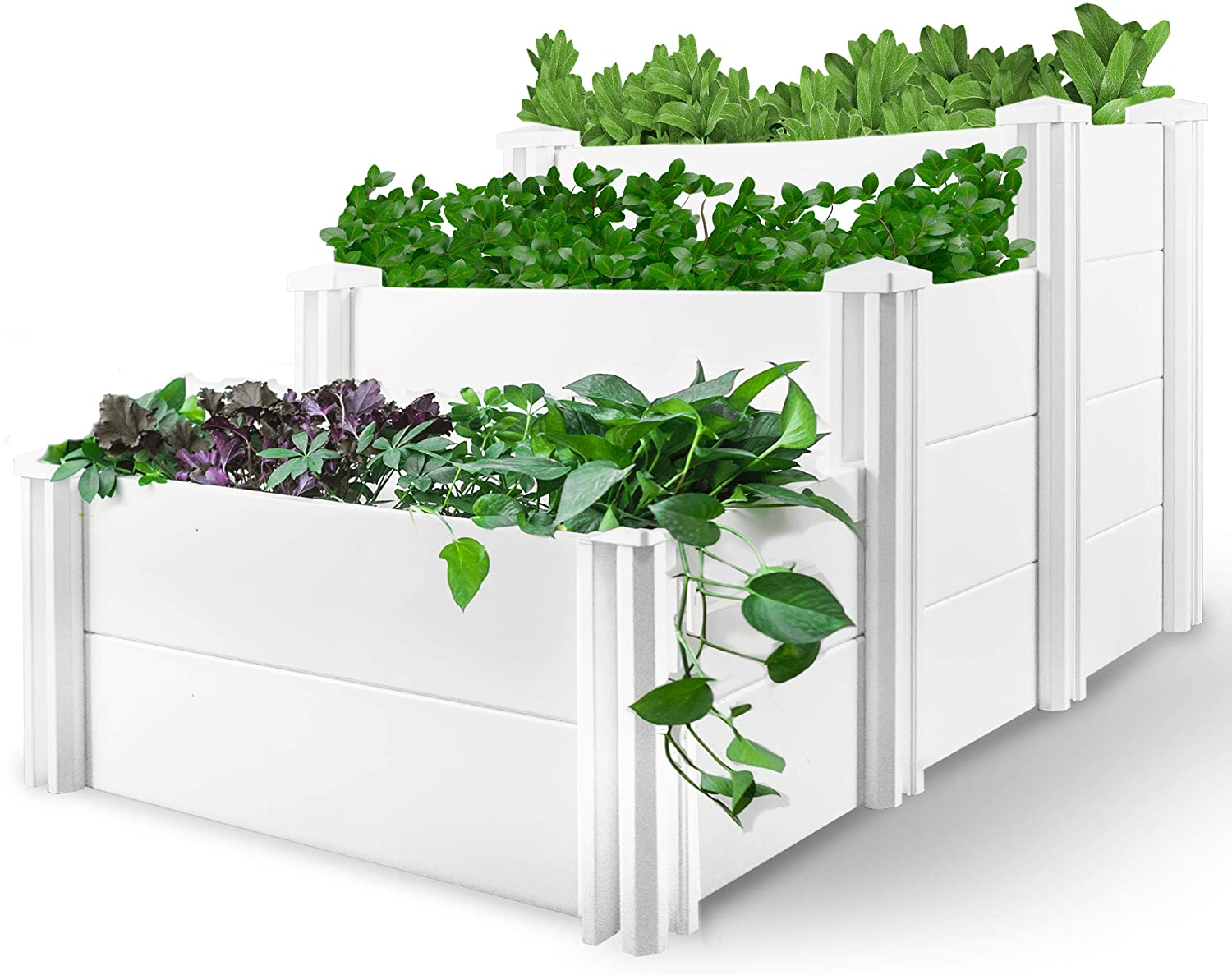 HEGEMONE Co. Tiered Raised Elevated Garden Bed Planter Box | For Organic Herbs, Vegetables, Plants, Flowers | Outdoor Planters Kit Stand | Screwless Easy to Assemble | Heavy-Duty Non-Toxic (PVC Vinyl)
