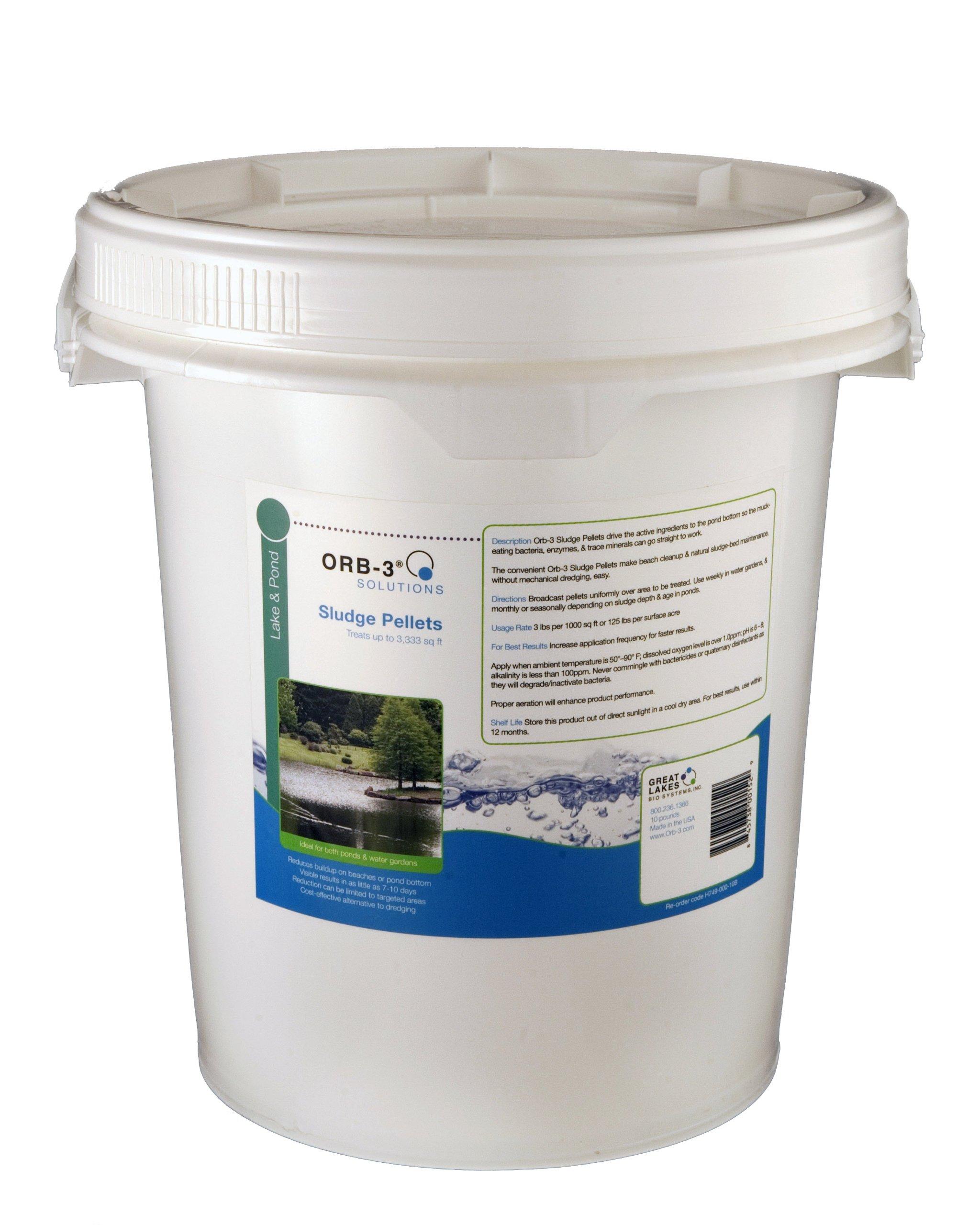 Orb-3 Sludge Pellets Pail Bulk for Ponds, 10-Pound