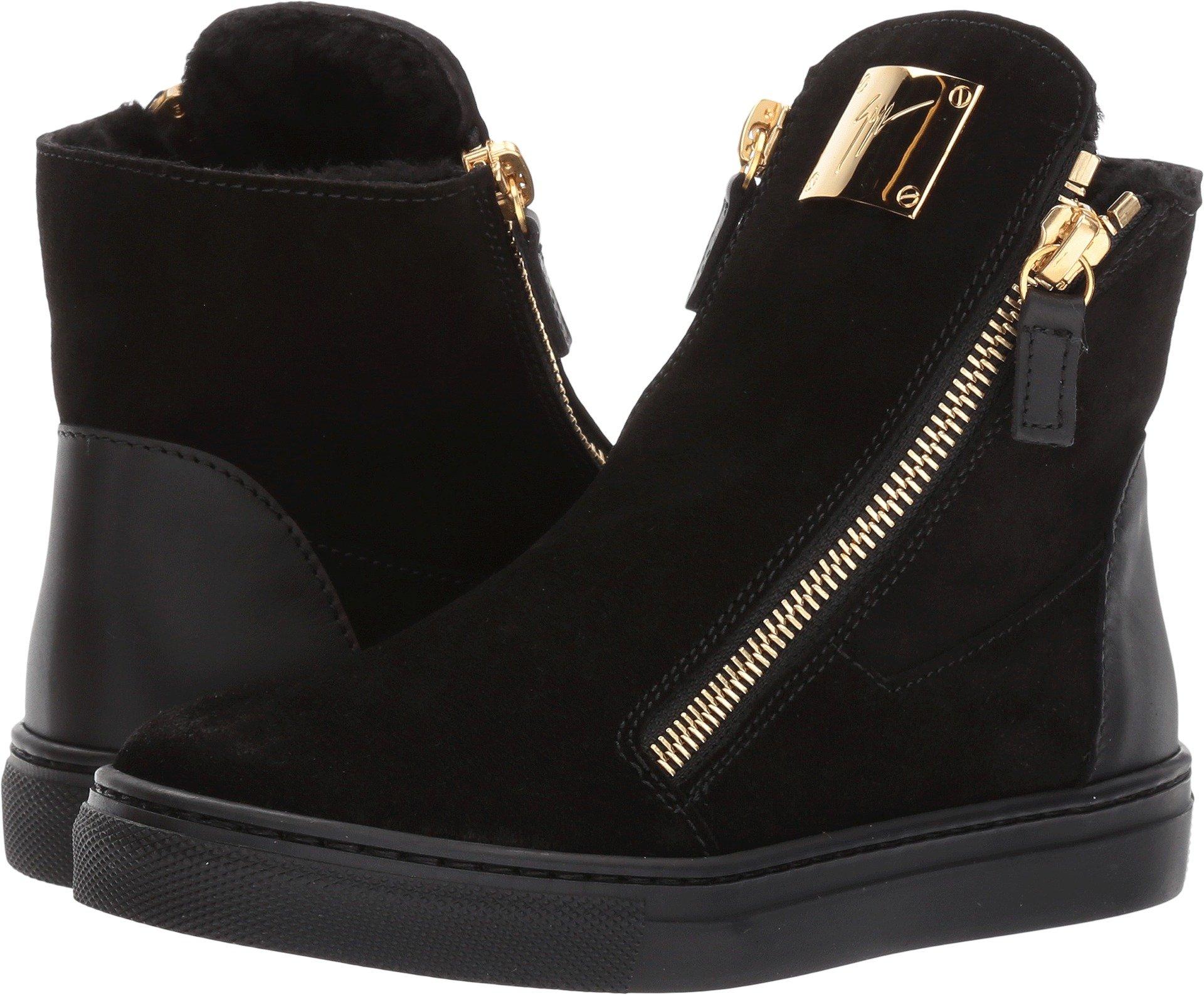 Giuseppe Zanotti Kids Unisex Larry Jr. Velour Sneaker (Toddler/Little Kid) Black 33 M EU by Giuseppe Zanotti Kids