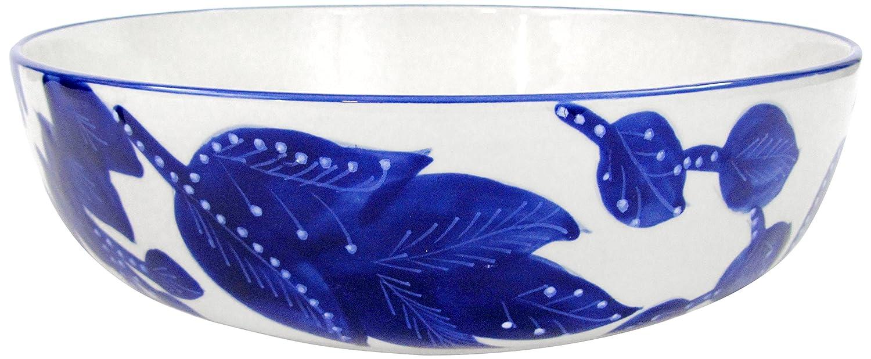 Le Souk Ceramique JA05 Stoneware Wide Serving Bowl, Cobalt Blue/White, Medium