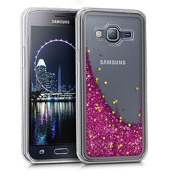kwmobile Funda para Samsung Galaxy J3 (2016) DUOS - Carcasa protectora de TPU para móvil - Cover trasero en rosa fucsia / dorado / transparente