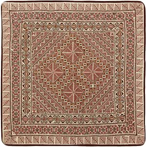 Turathna Cotton Brown Handmade Cross Stitch Classic Cushion - 1 Piece