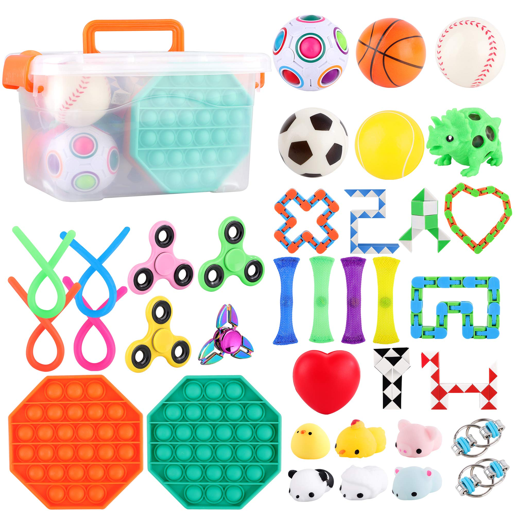 FiGoal 36 PCS Stress Relief Set Sensory Fidget Toys Set, Hand Toys for Adults Kids ADHD ADD Anxiety Autism, Birthday Party Favors,Classroom, Goodie Bag Fillers, Easter Egg Hunting and Gift Exchange