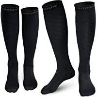 Cambivo 2 Pairs Compression Socks for Men and Women(20-30 mmHg), Compression Stocking for Swelling, Nurse, Flight (Black…