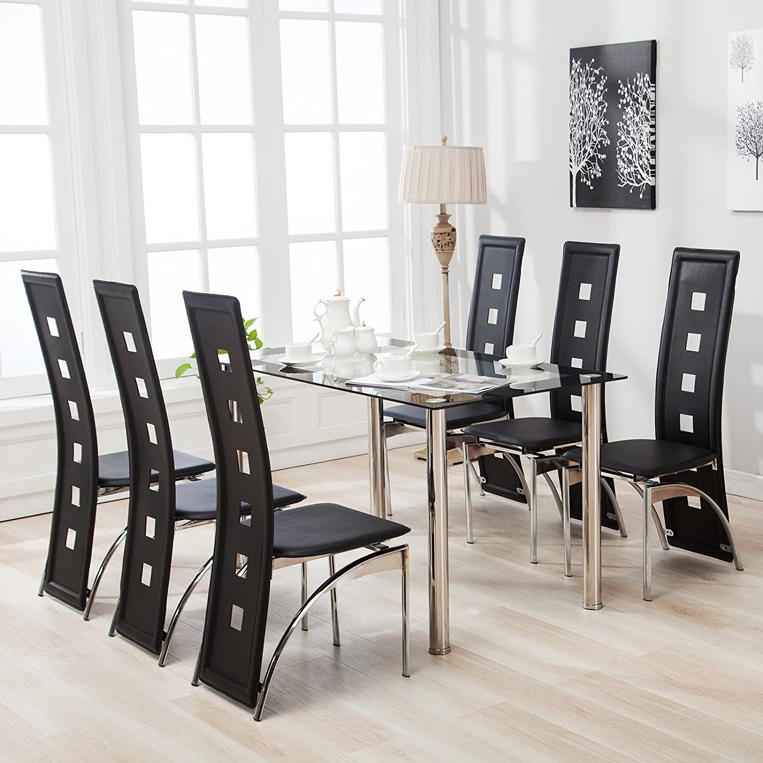 Amazon com mecor glass dining table set 7 piece kitchen table set with 6 leather chairs metal legs black office products