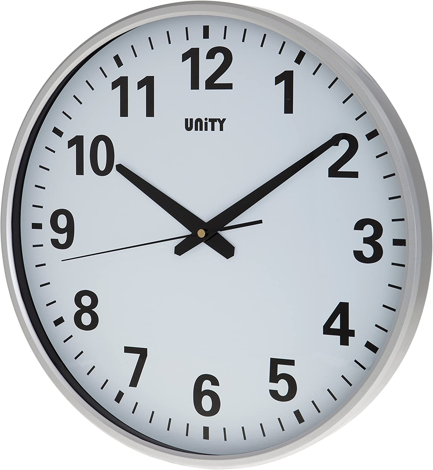 Unity Unsw400 Tejo 38cm Extra Large Clear Dial Ultra Quiet Sweeping Wall Clock Silver 38x38x6 Cm Amazon Co Uk Kitchen Home