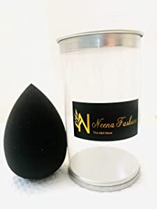 Non-tearable, Long-lasting Neena Fashion Beauty Sponge Makeup Blender with Holder | Minimal Product Absorption with Maximum Coverage | Perfect for Traveling | Great for Blending Wet, Cream or Liquid Foundations and Concealers (Original Black)