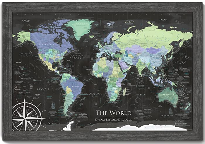 Amazon world map wall art large framed pin board map includes world map wall art large framed pin board map includes 100 map pins gumiabroncs Image collections