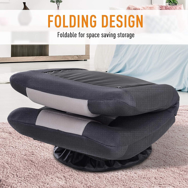 HOMCOM 360 Degree Swivel Game Chair Folding Floor Sofa 5-Position Adjustable Lazy Chair, Grey