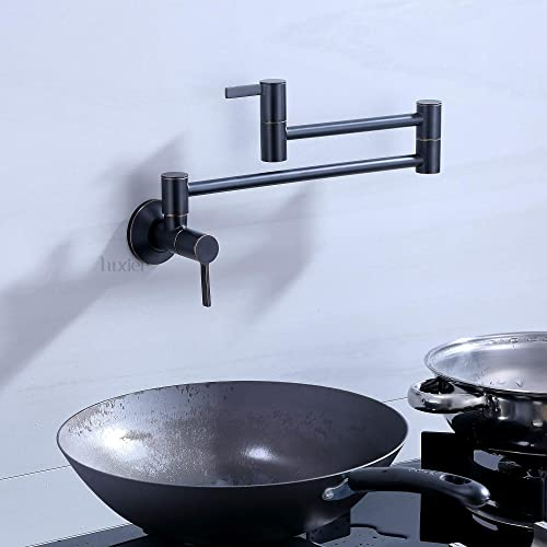 Luxier KTS17-TO Single Hole Two Handles Wall Mount Pot Filler with folding extended spout cUPC Oil Rubbed Bronze