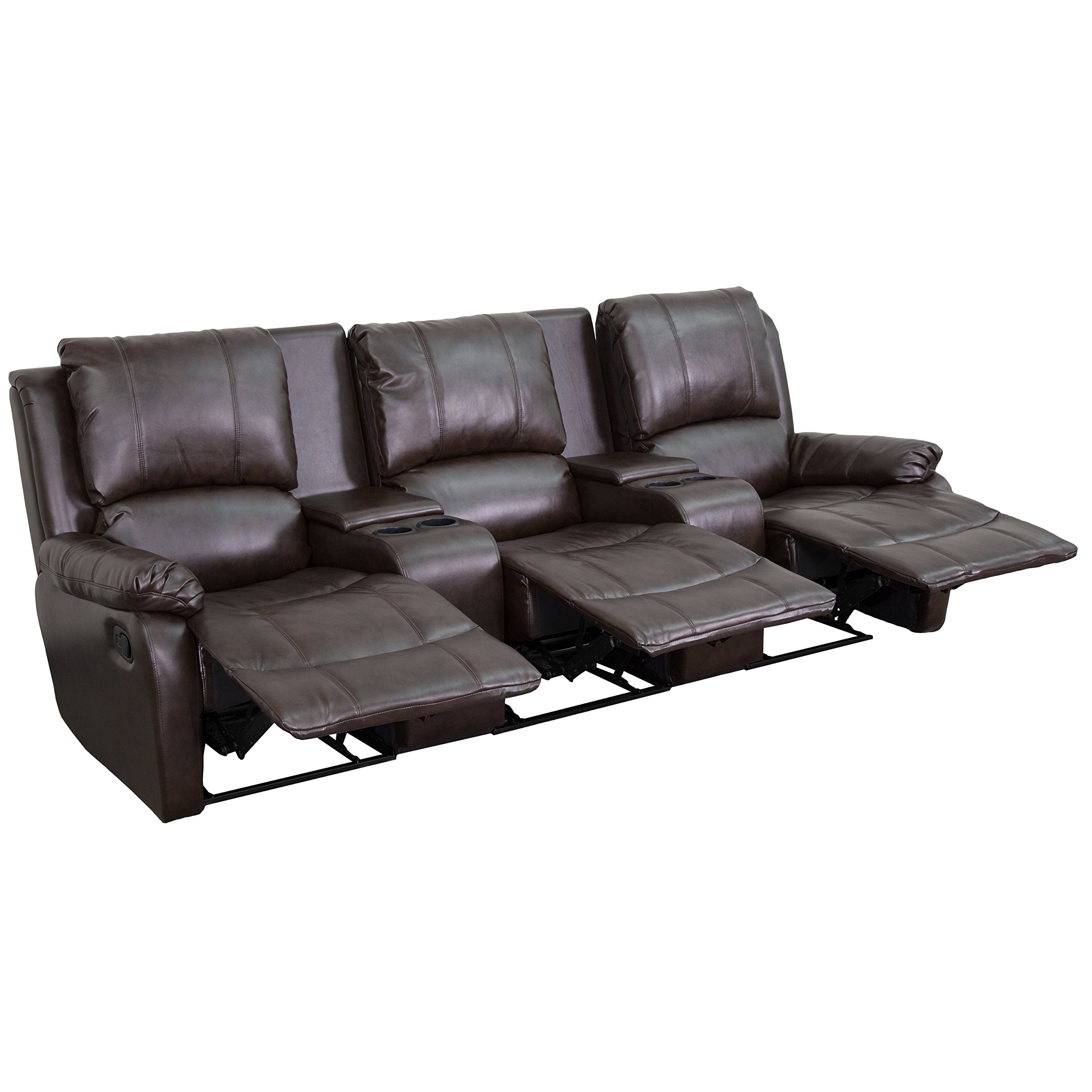 Winston Direct Cinema Series 3-Seat Reclining Pillow Back Brown Leather Theater Seating Unit with Cup Holders