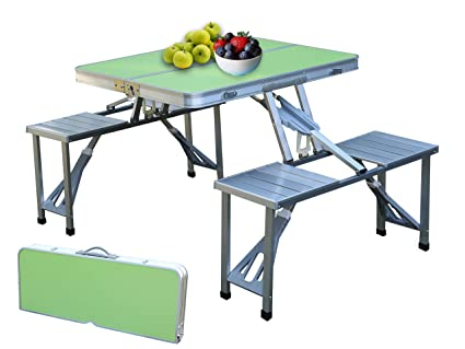 Astonishing Playberg Qi003346G Aluminum Portable Picnic Folding Table With Two Benches Green Machost Co Dining Chair Design Ideas Machostcouk