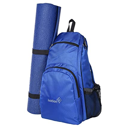 Ivation Yoga Mat Backpack Multi Purpose Crossbody Sling for Gym, Beach, Hiking or Travel,Blue