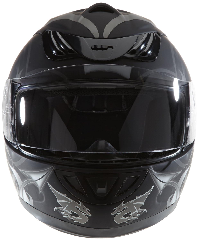 Protectwear H510-11SW Casque de moto int/égral avec Motif de Dragon en gris,Taille XL mat noir