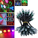 WESIRI WS2811 Diffused Digital RGB LED Pixel Lights Black Wire Individually Addressable Round DIY LED Pixels Module IP68 Waterproof DC5V 50pcs/Set