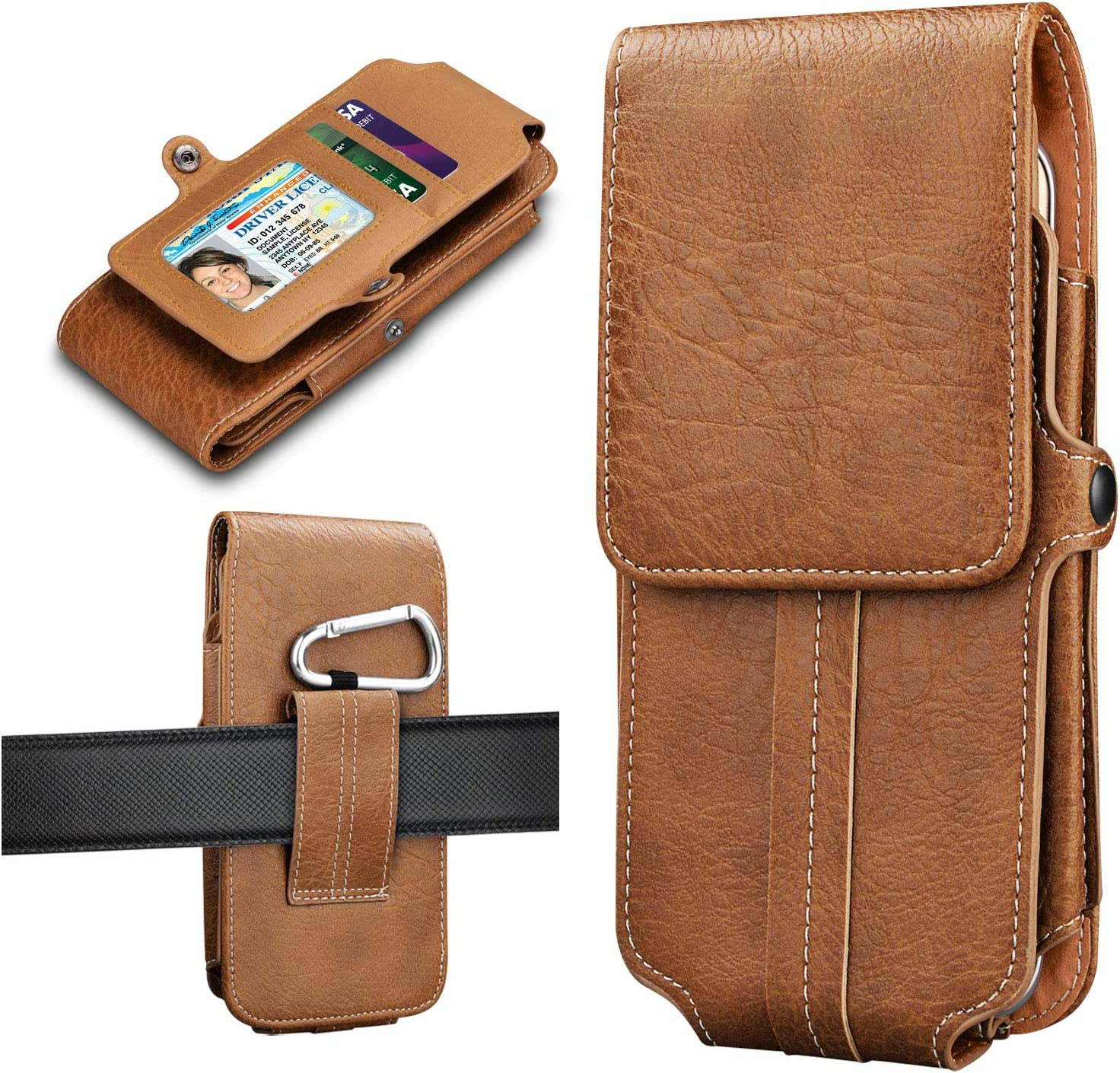 Tiflook Compatible with iPhone 11 Pro Max XS XR X 8+ 7+ Samsung Galaxy Note 20 Note 10 S20 S10e S10 S9 S8 A71 A51 A01 A10e A20 A50 J7 PU Leather Phone Holster Belt Holder Carrying Case Pouch, Brown