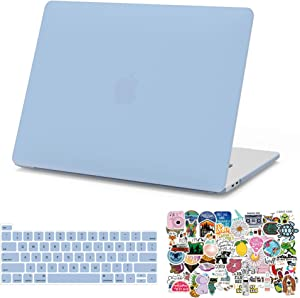 MacBook Pro 13 inch Case 2020-2016 Release A2338 M1 A2289 A2251 A2159 A1989 A1708, G JGOO Matte Plastic Hard Cover & 70PCS Laptop Sticker & Keyboard Cover Compatible with Mac Pro 13, Serenity Blue