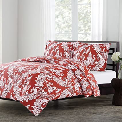 2 Piece Red Paisley Twin Duvet Cover Set, Geometric Damask Theme Bedding  Floral Medallion,