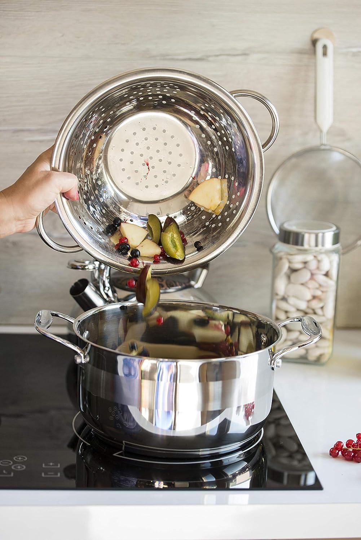 KADAX Nudelsieb aus Edelstahl, Durchschlag, Seiher, Sieb für die Küche,  Küchensieb, Filter, Zwei Griffe und eine stabile Basis, für die
