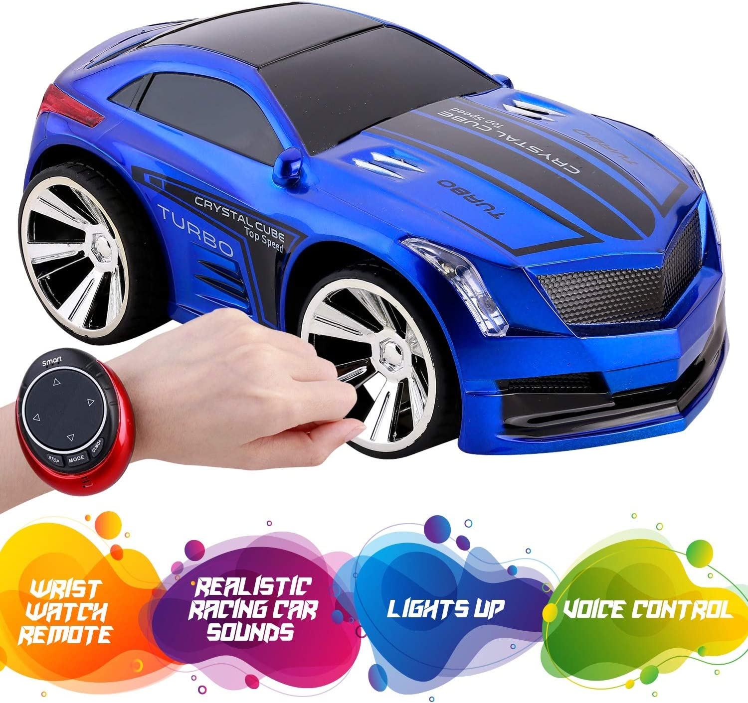 Remote Control Car with Voice Activation - Hand and Voice Activated Wrist RC Smart Watch - Rechargeable Race Car with USB Cable for Kids - Super Action Light Effects