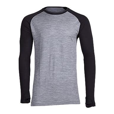 2aebe3e811c7f Men's Aspect Midweight Merino Wool Base Layer Long Sleeve Shirt (Heather  Grey/Black,