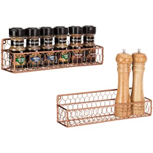 MyGift Set of 2 Copper-Tone Chicken Wire Wall-Mounted 12-Inch Spice Racks