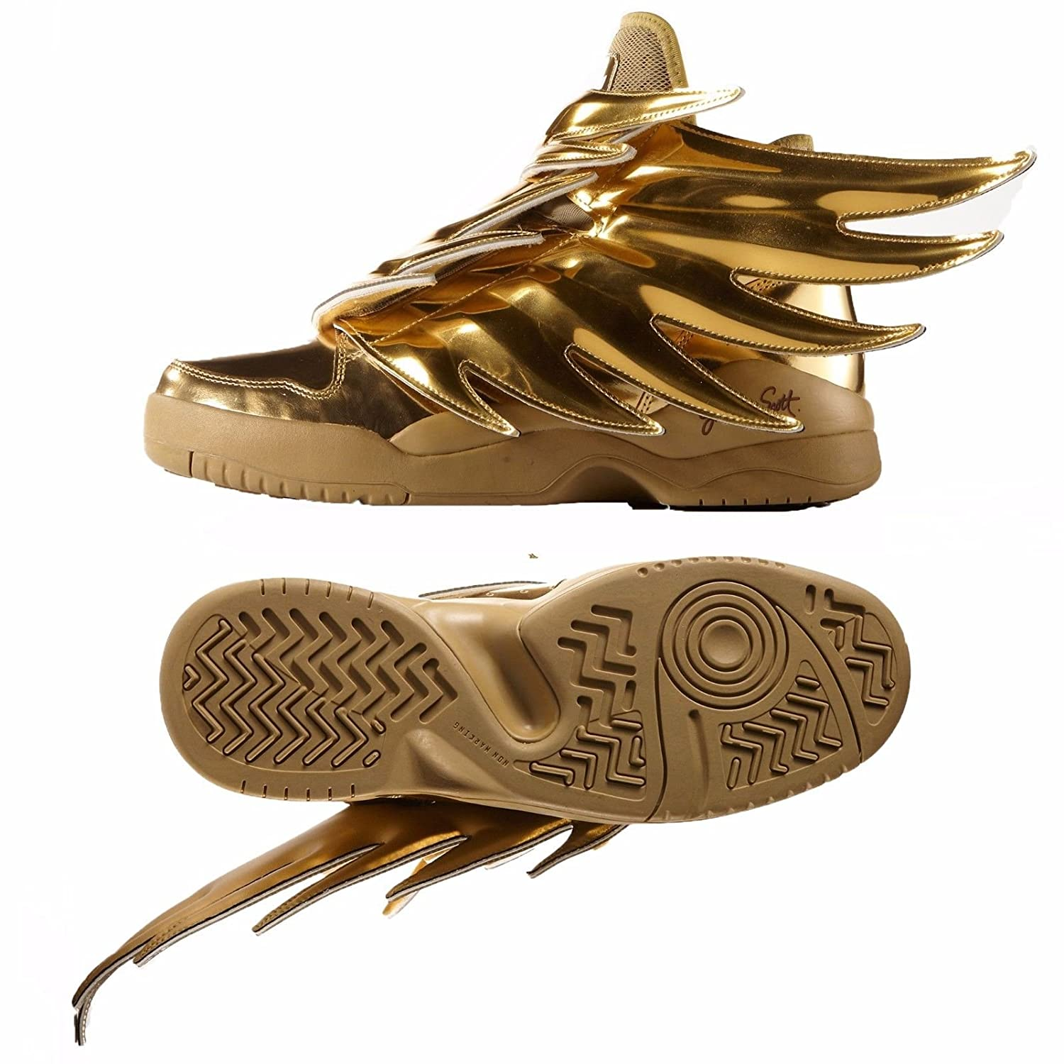 | Adidas ObyO JS Jeremy Scott Wings 3.0 B35651 Gold Spiky Dark Knight Batman Shoes | Fashion Sneakers