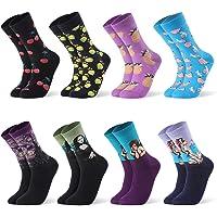 Jolintek Calcetines Divertidos para Hombre Mujer, 8 Pares Calcetines Estampados, Calcetines Estampados Impresos de…