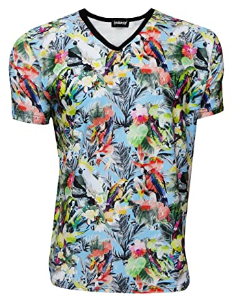 Exotic Tropical Birds Parrots Hawaii Print V-Neck TShirt Tee Top (S)