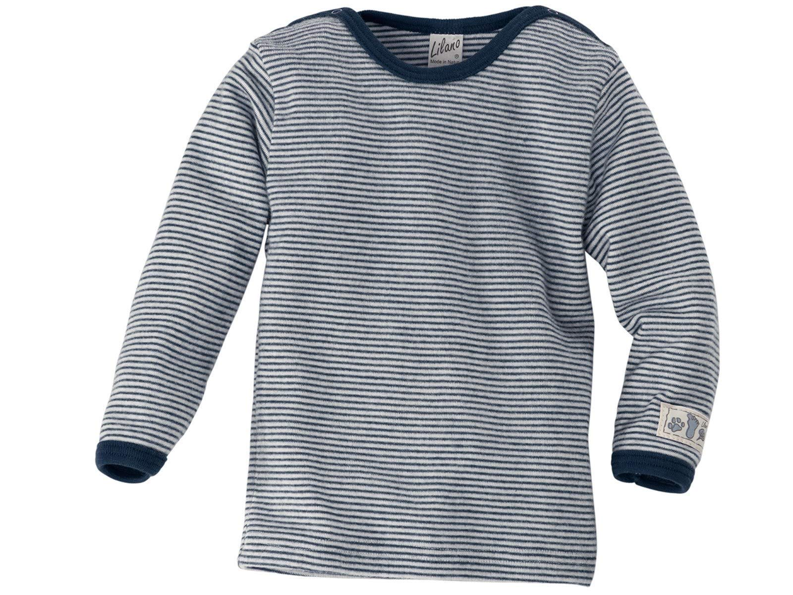 Lilano Organic Merino Wool and Silk Baby T-Shirt Long Sleeve [100306]. Made in Germany. (98 (2T-3T), Blue/Natural) by Lilano