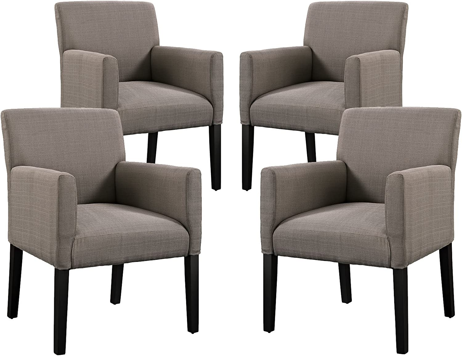 Modway Chloe Upholstered Fabric Modern Farmhouse Dining Arm Accent Chair in Gray - Set of 4