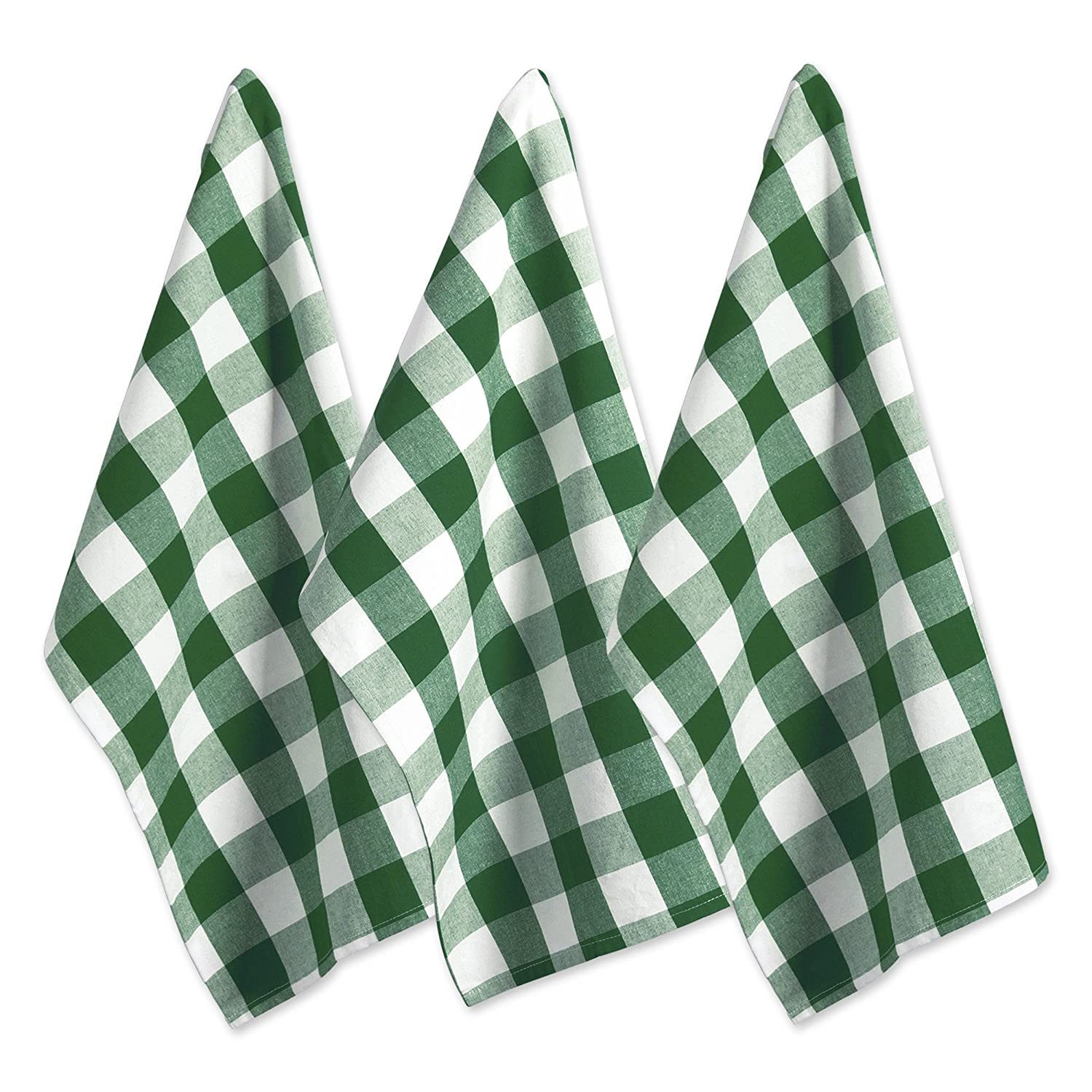DII Oversized Kitchen Shamrock Green Buffalo Check Dishtowel (Set of 3), Green and White Buffalo Check
