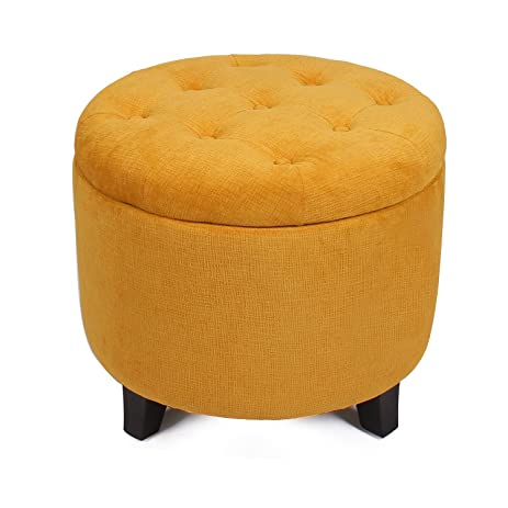 Amazoncom ELEGAN Round Shape Tufted Fabric Storage Ottoman Chair