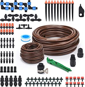 KORAM Drip Garden Irrigation Kit, 50ft Tubing Drip Watering System with Nozzles Drippers for Patio, Flower Bed, Greenhouse, Lawn, Automatic Water Distribution Kits