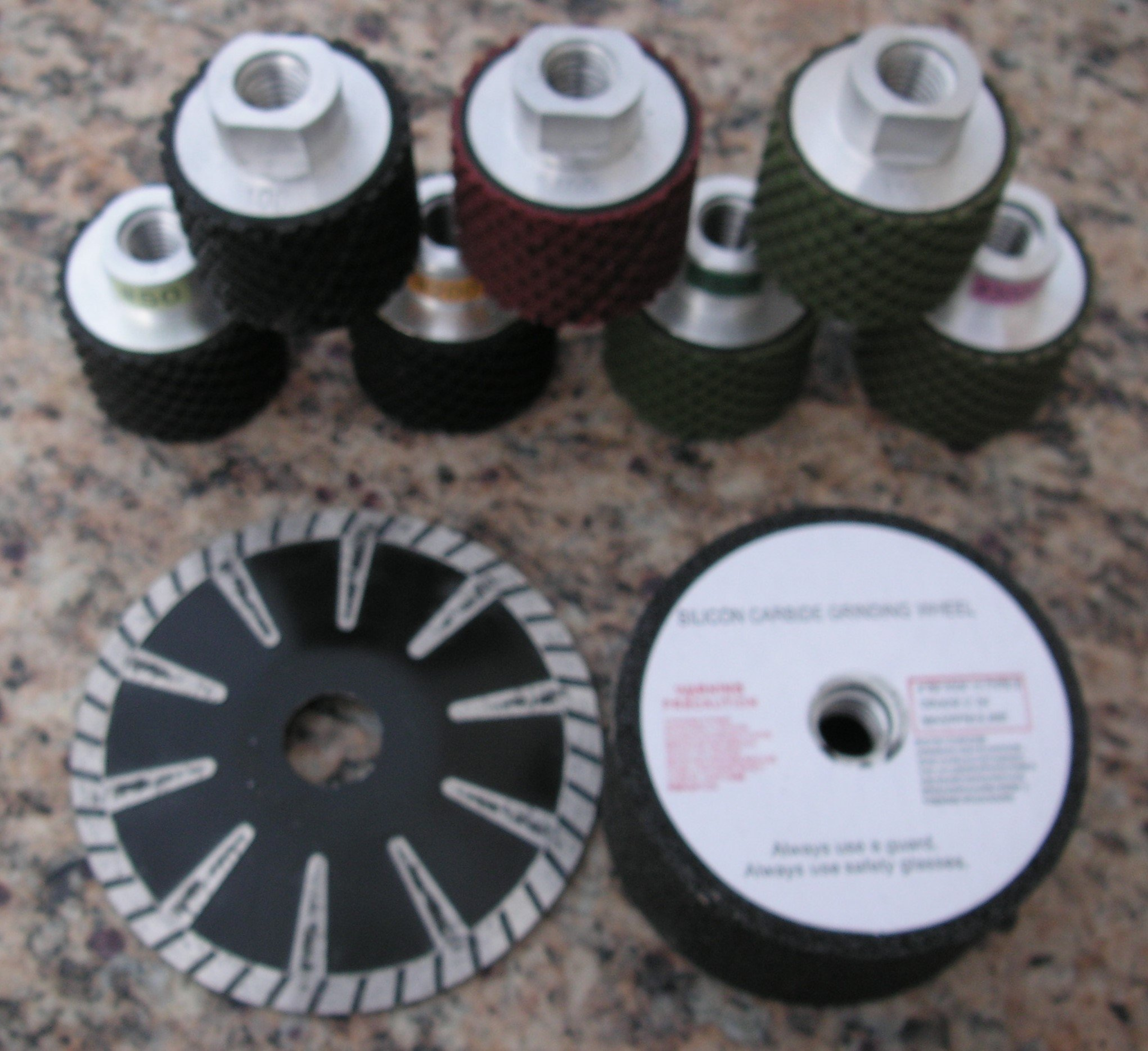 Delux Sink and Faucet Cut-Out Kit with 7x2'' Wet Polishing Drums by Granite Polishing Pads