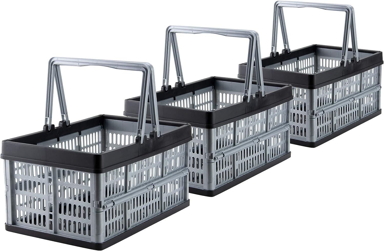 Grizzly 3 x Cajas Plegables con asas - 16 L - Cestas de almacenamiento - apilables: Amazon.es: Hogar