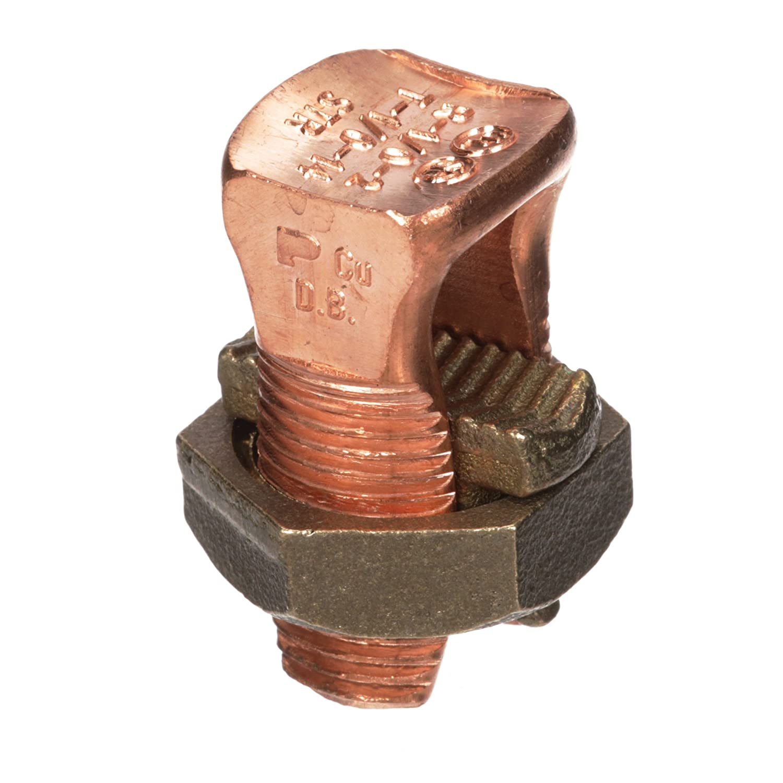 #8 STR Min//#6 STR Max For Equal Run And Tap Panduit SBC4SL-C Split Bolt Copper 0.45 Head Width 0.69 Nut Width #14 STR Min Tap With One Max Run 1.30 Length 0.45 Head Width 0.69 Nut Width 1.30 Length