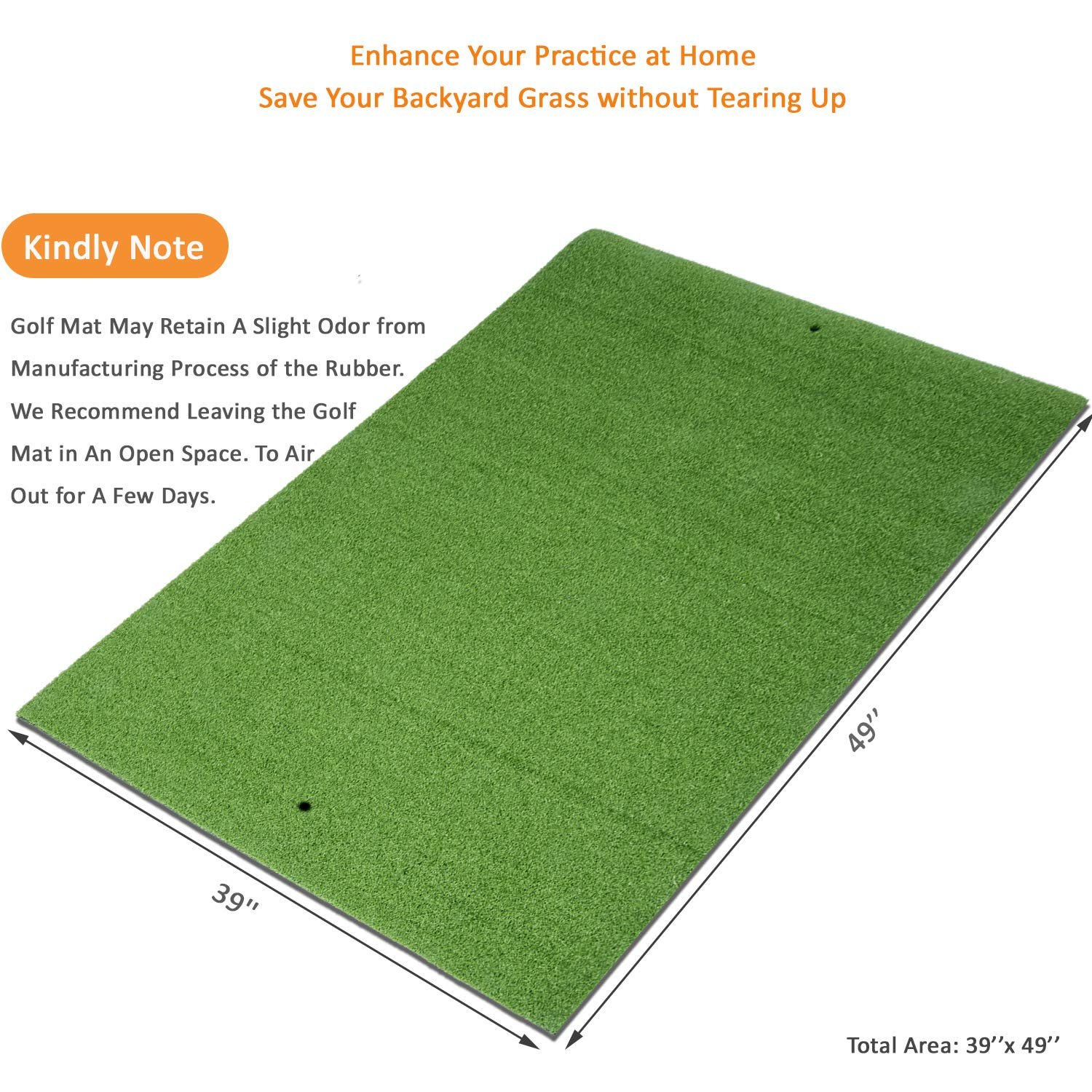 Sky Golf Mat Residential Practice Hitting Grass Mat with Removable Rubber Tee Holder, Home Backyard Garage Outdoor Practice